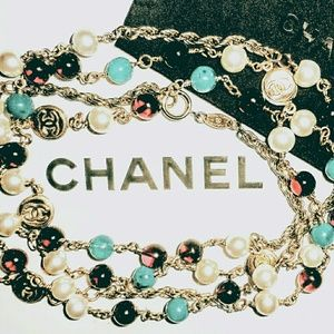 Vintage Chanel Red,Green,Pearl,CC Charms Necklace